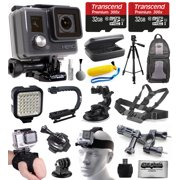 GoPro HD HERO Waterproof Action Camera Camcorder (CHDHA-301) with 64GB MicroSD Card + Car Charger + LED Night Video Light + Head Strap + Travel Case + Stabilizer Grip Handle