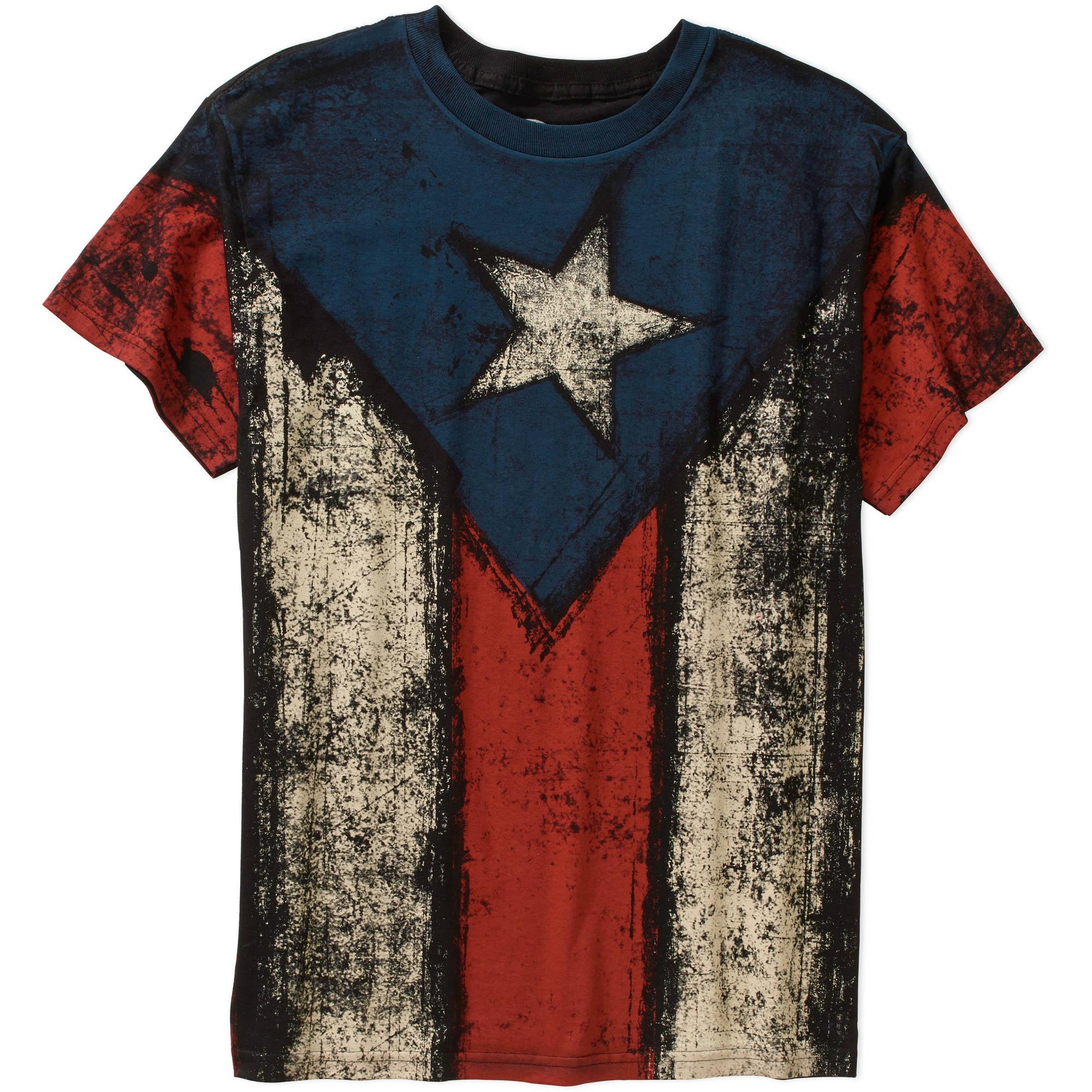 Puerto Rico Flag Big Men's Graphic Tee