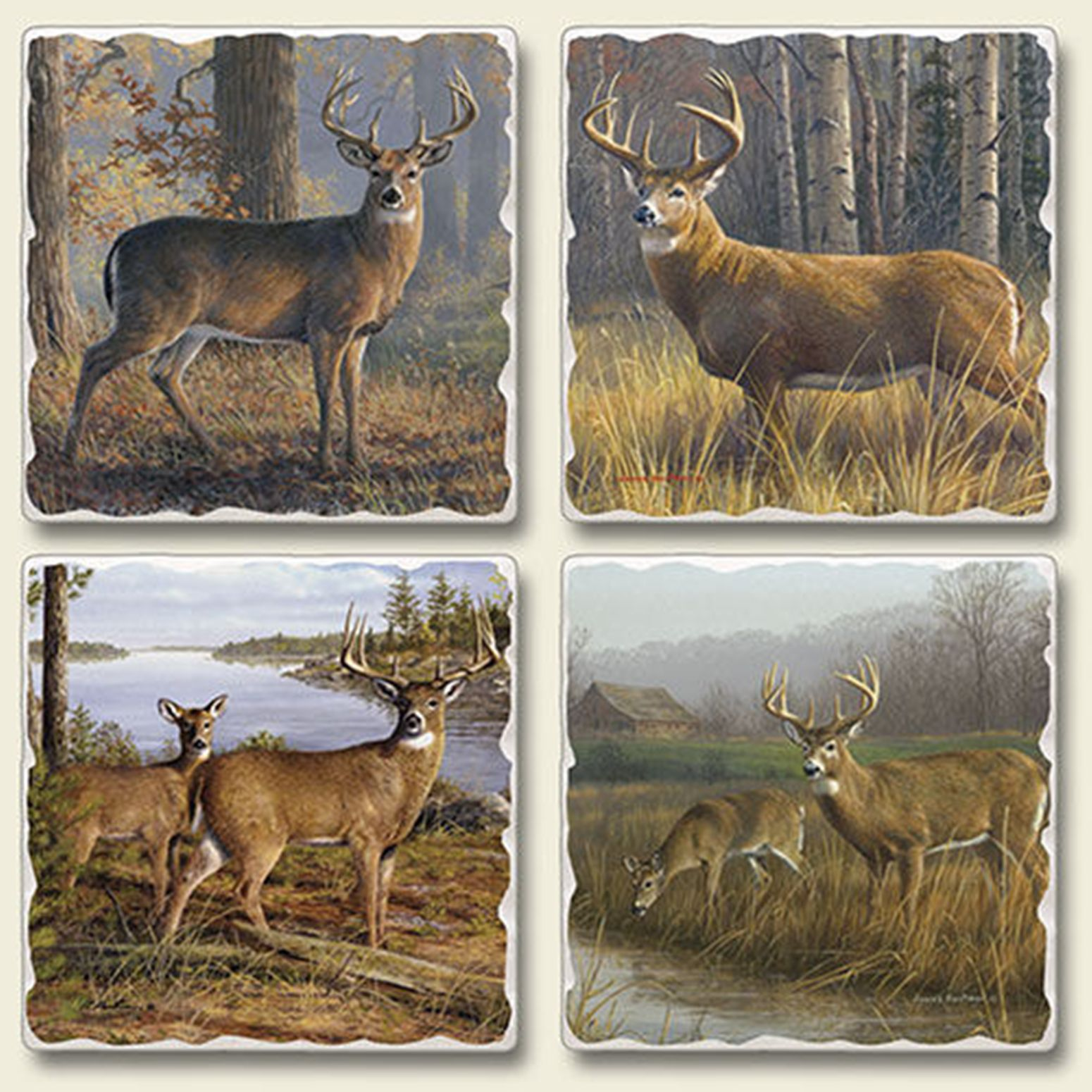 Buck and Doe Deer Hunter Woodland Legends Tumbled Stone Coasters Set of 4