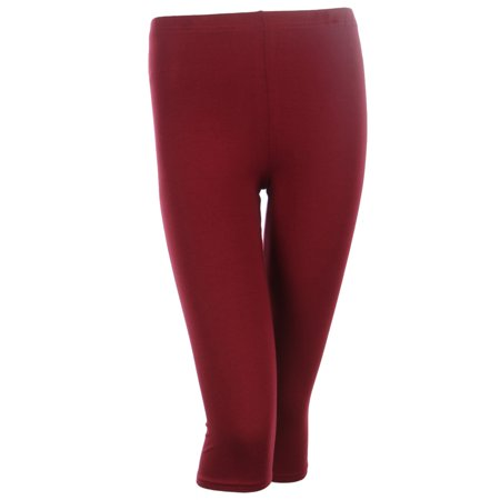 Neon Green Leggings (PLUS SIZE Solid Cotton Capri Leggings Plain Pants Capris For Women, Burgundy,)