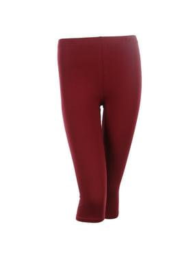 3b401e12c0aa4 Product Image PLUS SIZE Solid Cotton Capri Leggings Plain Pants Capris For  Women, Burgundy, 1XL
