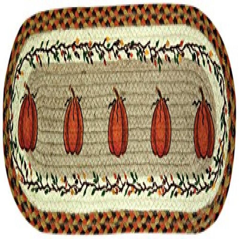 Earth Rugs 49-ST222 Harvest Pumpkin Printed Oval Stair Tread, 8.25 by 27""