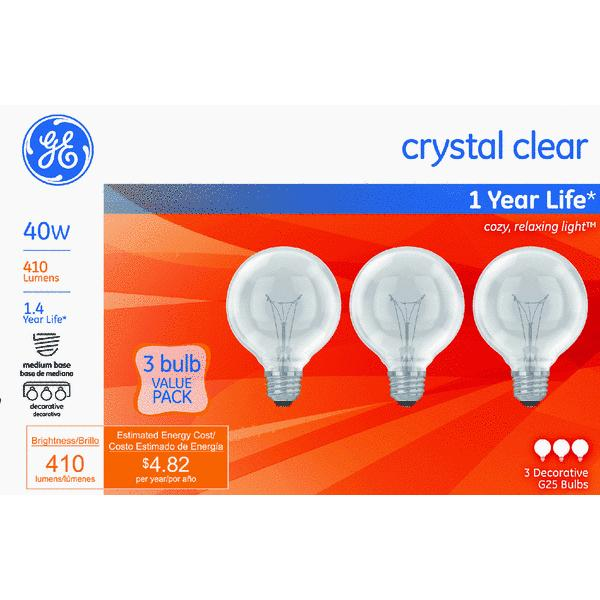 GE crystal clear 40 watt G25 3-pack