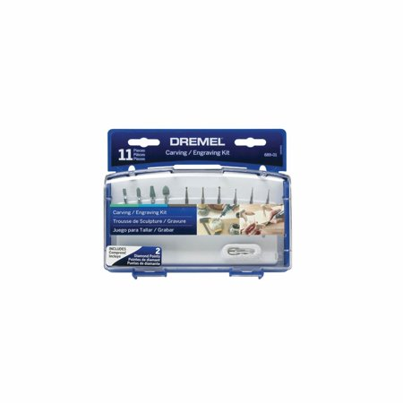 Dremel 689-01 Rotary Tool Carving and Engraving Accessory Kit for Stone, Glass and Terra Cotta, 11-Piece (Carving Dremel Kit)