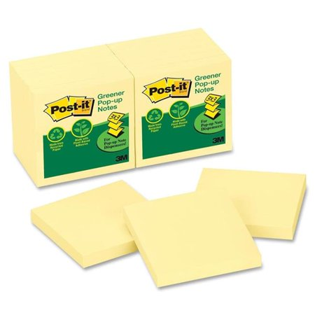 - 3M Office Products MMMR330RP12YW Sticky note Notes, Recycled Pop-Up Refill, 3 x 3 in., Canary Yellow, 12 Pads Per Pack
