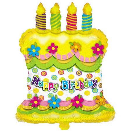 28 Happy Birthday Cake Candles Helium Shape Balloon Double Sided By PMU