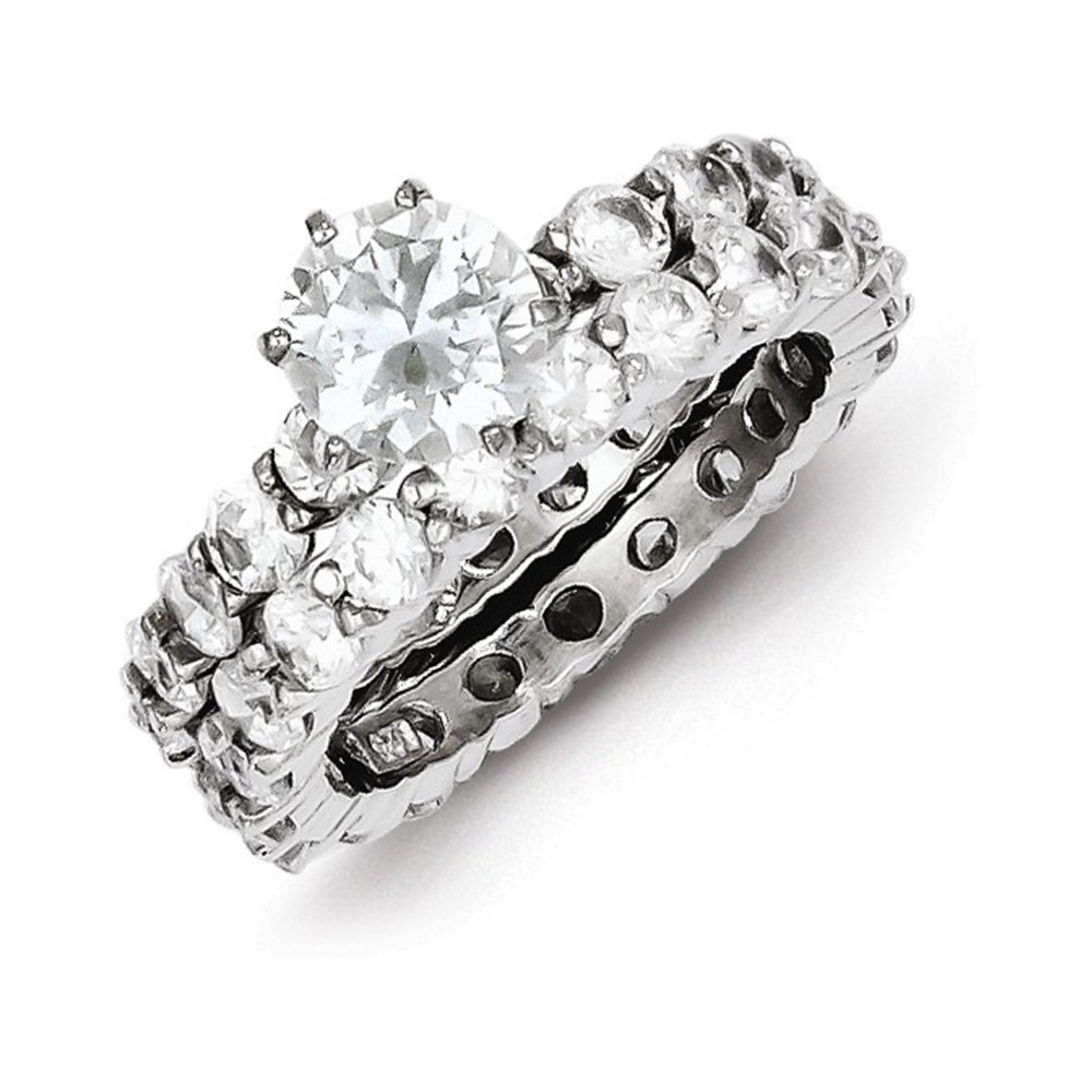 Sterling Silver CZ 2 Piece Wedding Set Ring Size 6
