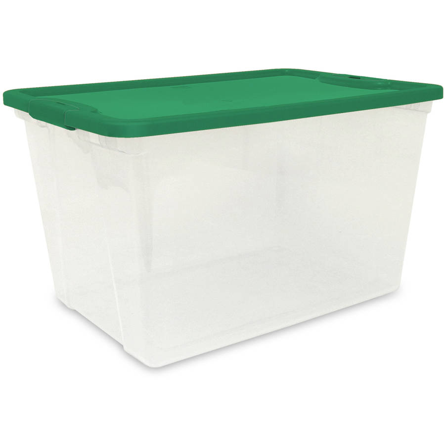 Homz 64-Quart Clear Holiday Storage Tote with Green Lid, Set of 6