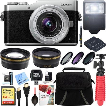 Panasonic LUMIX GX850 4K Mirrorless 16MP Silver Digital Camera w/ 12-32mm F3.5-5.6 MEGA O.I.S. Lens Bundle includes 64GB SDXC Memory Card, Spare Batteries, Flash, 37mm Filter Kit, and More!