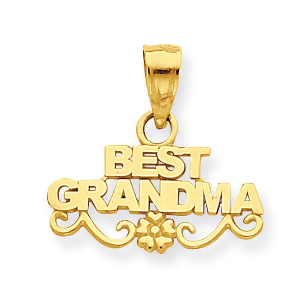14k Yellow Gold Best Grandma Words And Flower Pendant