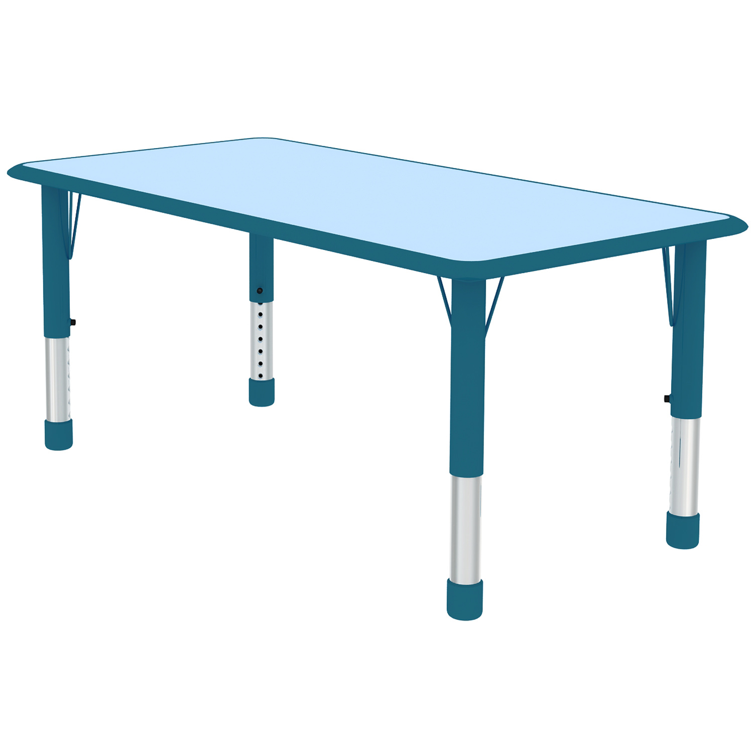 Attirant 2xhome   Blue Teal Kids Table Height Adjustable Rectangle Shape Activity  Table School Table Childs Bright Colorful Table   Walmart.com