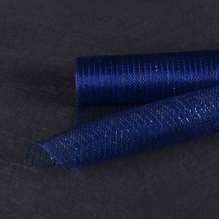 Navy Blue - Deco Mesh Wrap Metallic Stripes -  ( 10 Inch x 10 Yards )