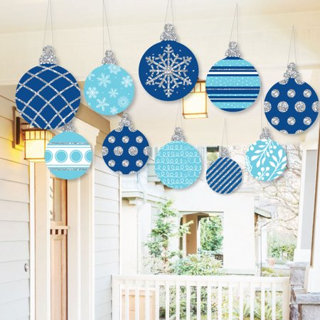 Blue Christmas Holiday Ornaments - Hanging Blue and Silver Ornaments - Outdoor Holiday and Christmas Hanging Porch and Tree Yard Decorations - 10 Pieces
