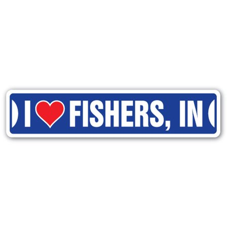 I LOVE FISHERS, INDIANA Street Sign in city state us wall road décor - Party City Fishers In