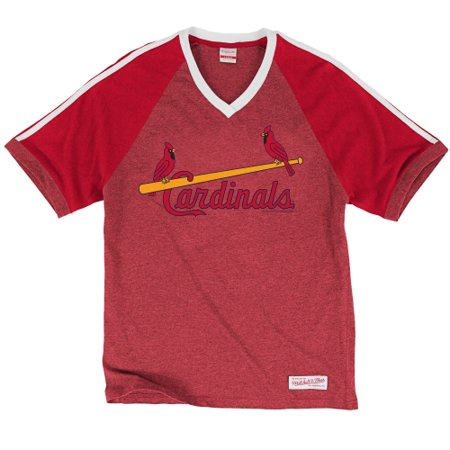 size 40 3a1b4 95a48 St. Louis Cardinals Mitchell & Ness Take Your Base V-Neck T-Shirt - Red