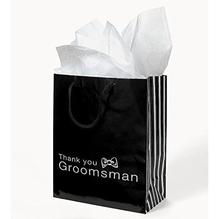 Bridesmaids Gift Bags (12 THANK YOU Gift Bags Groomsmen & Bridesmaid Black White Wedding Bridal Party By)
