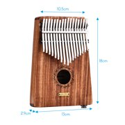 LINGTING K17YEQ 17-key Portable Thumb Piano Kalimba Mbira Sandalwood Solid Wood Built-in Pickup with Storage Bag Carry Case Music Book Stickers Tuning Hammer Accompaniment Chain Tassel Decoration