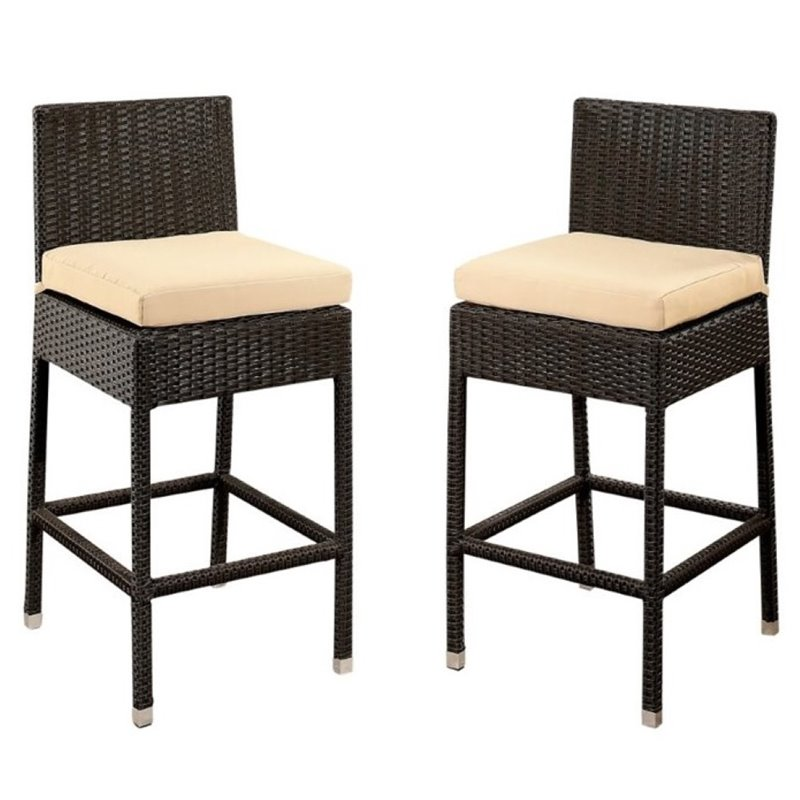 """Pemberly Row 29"""" Patio Bar Stool in Espresso (Set of 2) by Pemberly Row"""