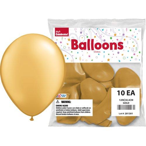"Way to Celebrate Gold 12"" Balloons, 10pk"