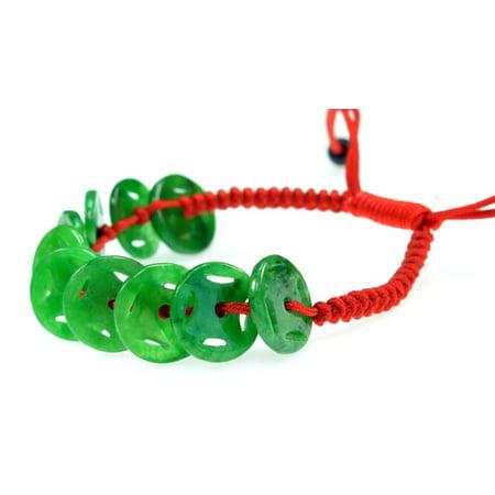 Blood Jade Bracelet (Feng Shui Jade Stone Coin Bracelet - Good for Luck and Prosperity - 91039 )