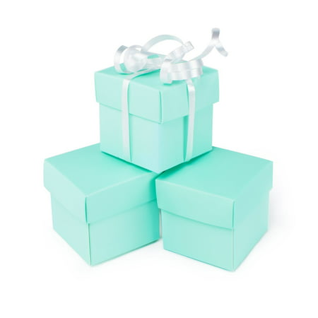 Square Jewel Box (Mini Small Square Cube Robin's Egg Blue Gift Boxes with Lids for Party Favors, Decoration, Weddings, Birthdays (2