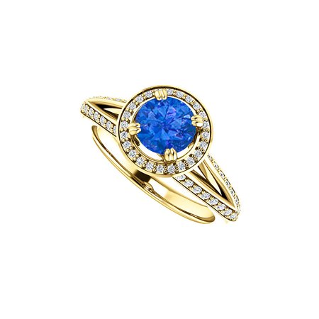 Round Sapphire Cubic Zirconia Halo Ring Gold Vermeil - image 2 of 2