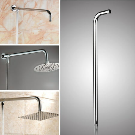 24''(60cm) Stainless Steel Rainfall Shower Head Arm Round Wall Mounted Tube Rainfall Bracket Bathroom Home - image 6 de 6