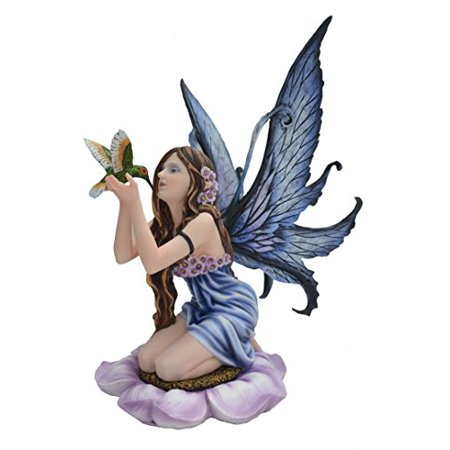LARGE PETAL FLOWER FAIRY WITH HUMMING BIRD SCULPTURE FIGURINE