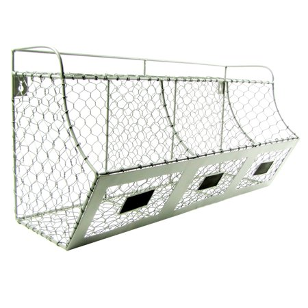 Treasure Gurus Rustic Chicken Wire Wall Storage 3 Bin Basket Primitive Country Farmhouse Decor ()