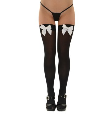 d3096a1f6 Product Image Womens Opaque Thigh Highs Satin Bow White or Black Nylon  Stockings One Size