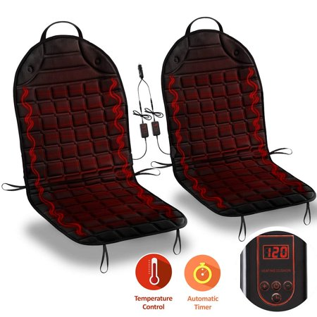 Zone Tech Car Heated Seat Cover Cushion Hot Warmer - 2-Piece Set 12V Heating Warmer Pad Hot Black Cover Perfect for Cold Weather and Winter Driving