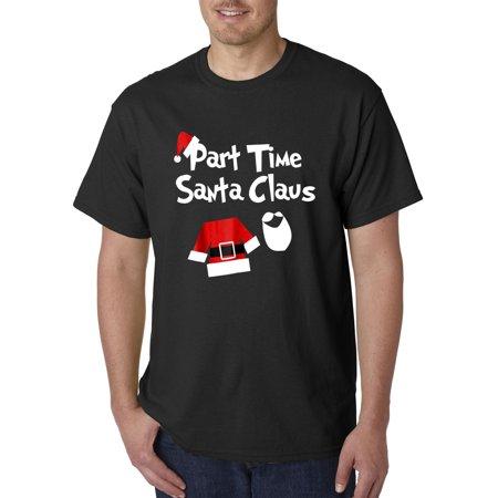 Trendy USA 1123 - Unisex T-Shirt Part Time Santa Claus Christmas Saint Nick Small Black