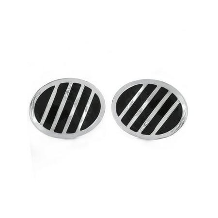 Two Tone Striped Polished Finish Oval Shaped Cufflinks (24mm)