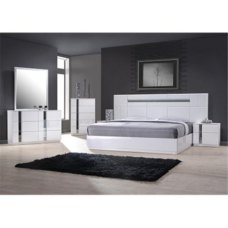 J & M Furniture 17853-DM Palermo Dresser & Mirror - White Lacquer & Chrome Bedroom Chrome Dresser