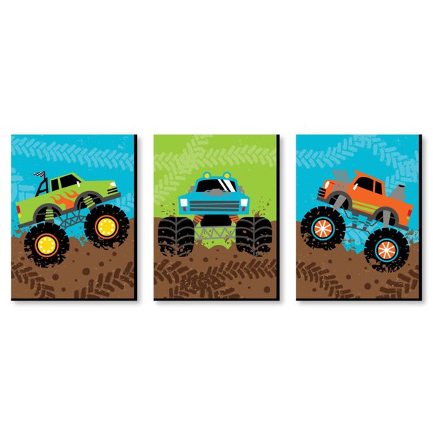 Smash and Crash - Monster Truck - Boy Nursery Wall Art and Kids Room Decor - 7.5 x 10 inches - Set of 3 Prints