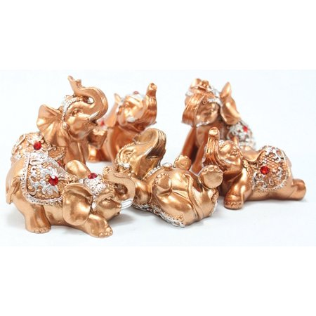 6 Gold Color Lucky Elephants Statues Feng Shui Figurine Home Decor Housewarming Birthday US Seller