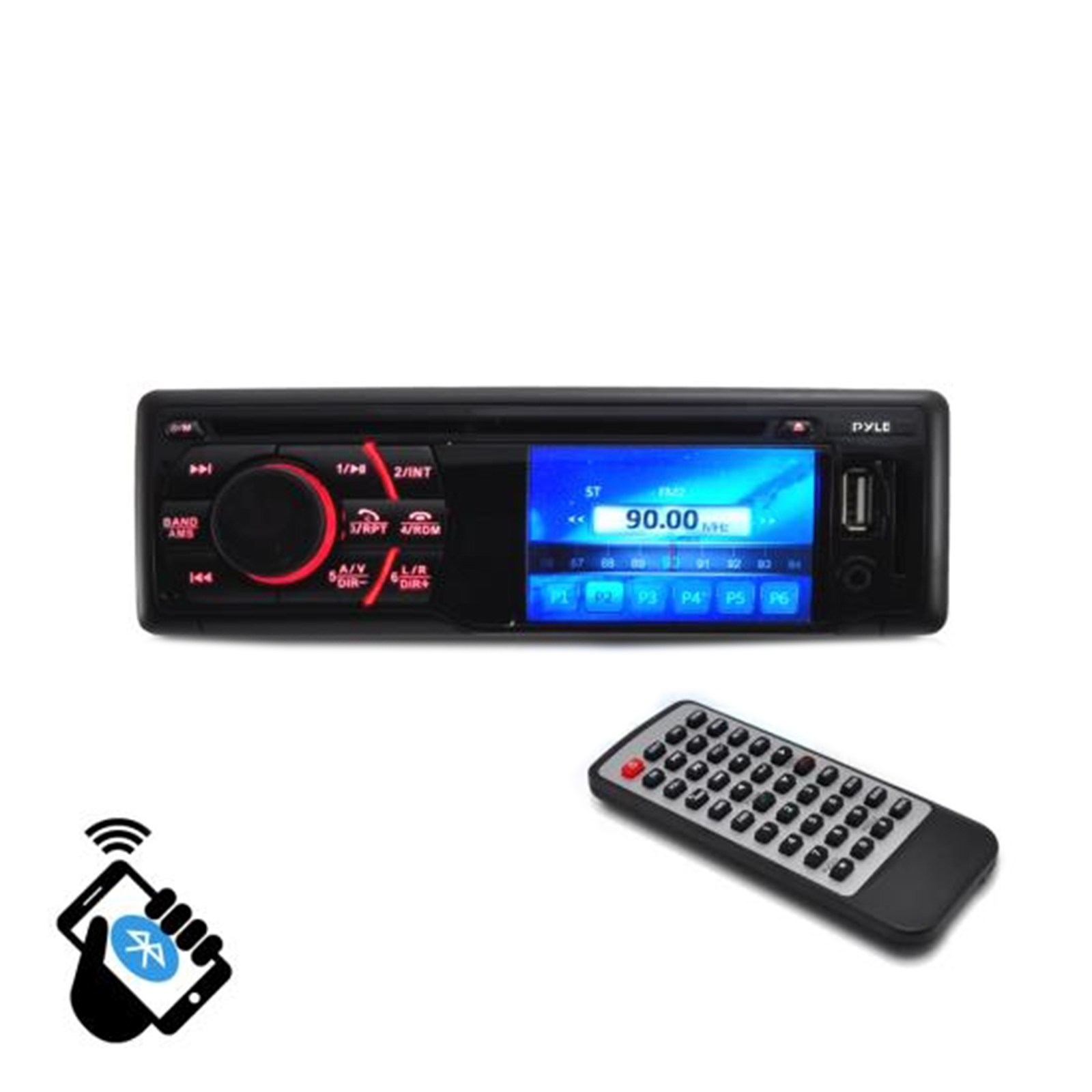 "BT In-Dash Receiver Headunit Media Player with 3"" LCD Monitor Display Screen, CD/"
