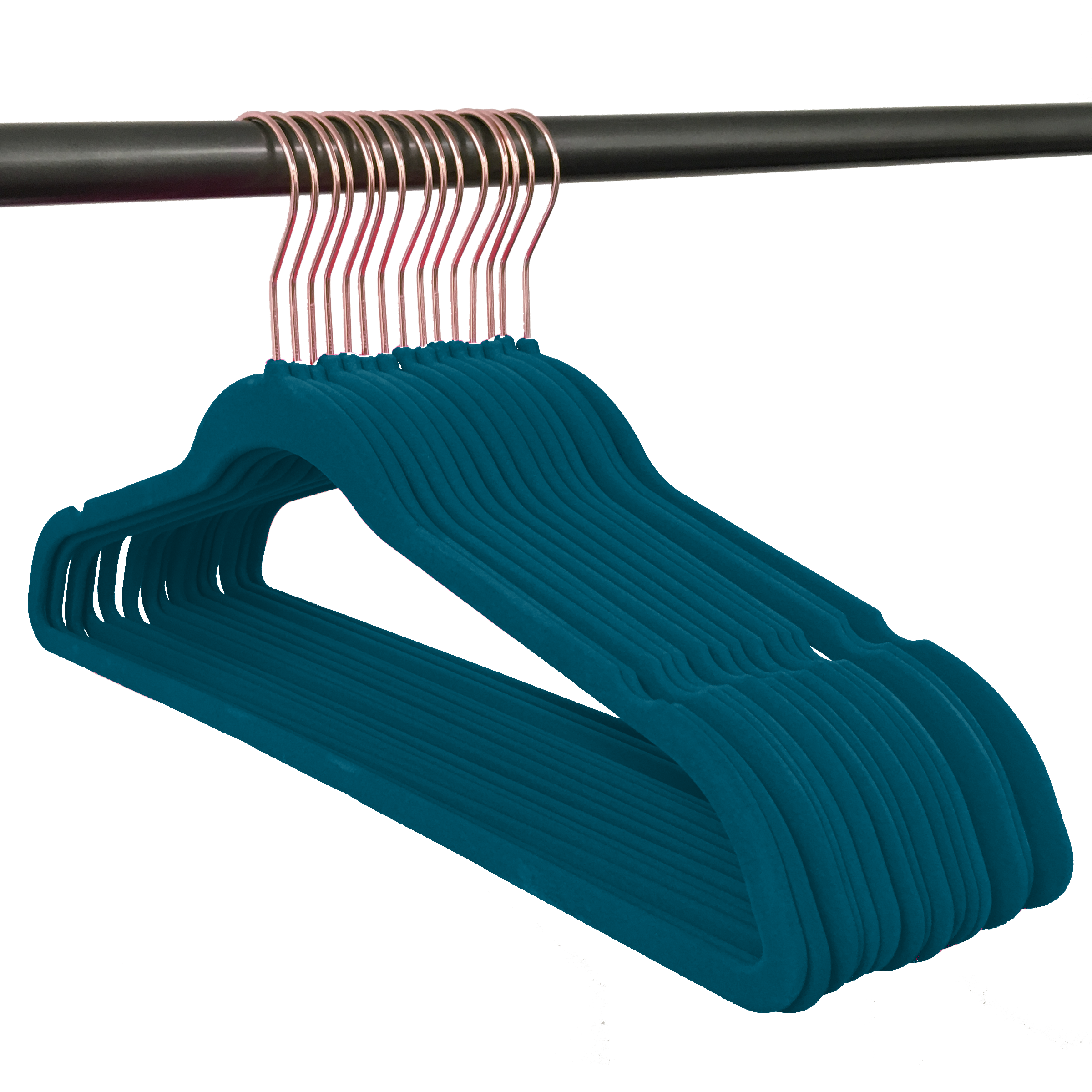 Attractive Closet Complete 50 Pack Velvet Hangers; Peacock With Rose Gold Hook