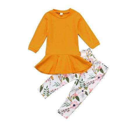Canis Kids Baby Girl Flower Outfit Clothes T-shirt Tops Tutu Dress+Pants 2PCS Set