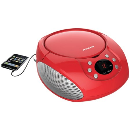 Sylvania Portable Cd Player & AM/FM Radio Tuner Mega Bass Reflex Boombox Sound System Plus 6ft Aux Cable to Connect Any Ipod, Iphone or Mp3 Digital Audio