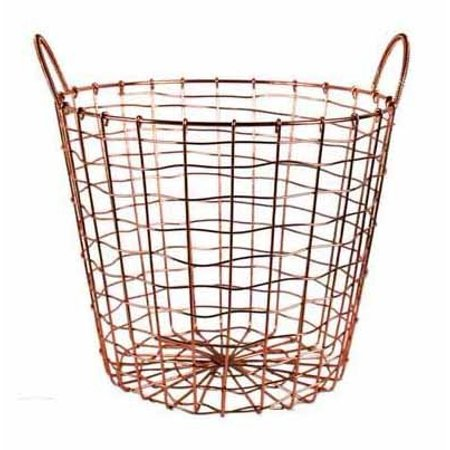 Wire Storage Basket and Waste Bin – Copper Plated Metal Bin with Two Handles for Office, Bedroom, Living Room, Closet and More - by Designstyles (Waste Bin Handles)