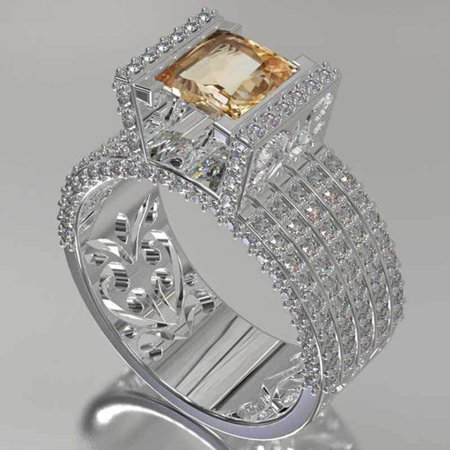 Fashion Copper Hollow Pattern Diamond Ring