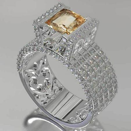 Fashion Copper Hollow Pattern Diamond Ring
