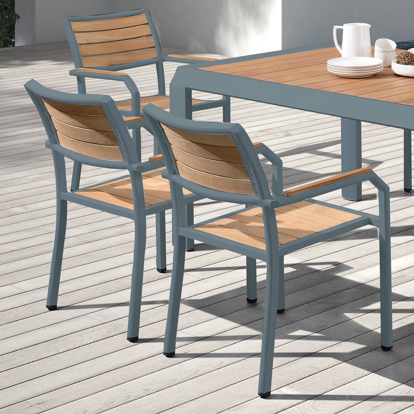 Armen Living Minsk Aluminum Teak Patio Dining Chair Set of 2 by Armen Living