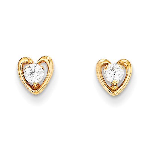 14k Yellow Gold Heart Cubic Zirconia Cz Post Stud Earrings Love Fine Jewelry Gifts For Women For Her - image 4 of 4