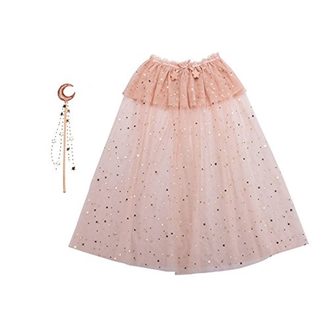 minihope Short Cape and Wand Set for Baby Girls Halloween Party Pretend Play Dress up Princess Cape