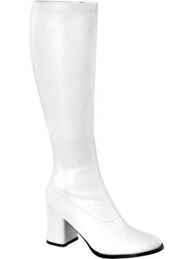 966915a409c Product Image Womens White Go Go Boots 3 Inch Chunky Heel Stretch Knee Highs  Boots Matte Zip