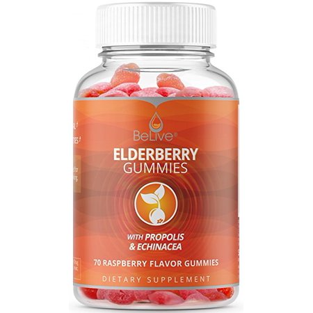 Elderberry Immune Support Gummies with Vitaminc C, Propolis, Echinacea. Sambucus Herbal Immunity Supplement Made for Adults & Kids. 100% Natural and Vegan Friendly | Raspberry Flavored. 70 Count