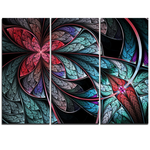 Design Art Turquoise and Red Fractal Flower Pattern - 3 Piece Graphic Art on Wrapped Canvas Set