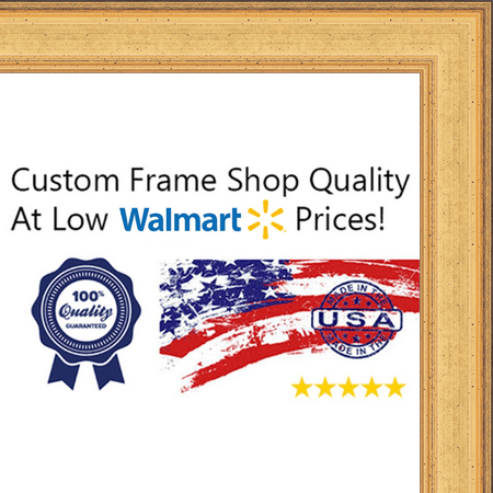16x28 - 16 x 28 Elegant Gold Solid Wood Frame with UV Framer's Acrylic & Foam Board Backing - Great For a Photo, Po